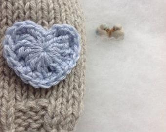 Knit Beanie Baby hat Eco cashmere Eco Cashmere newborn hat with heart  Newborn hat Photo prop Eco Cashmere Made in Italy Handmade baby hat