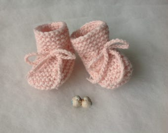 Precious Pink shoes baby girl cashmere 100% Newborn booties Knit Shoes for babies Infants boots Baptism Photo prop Newborn shoes girl Mom