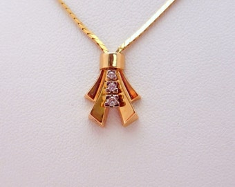 Vintage 14kt Diamond Lariat Pendent Necklace with 14kt Chain