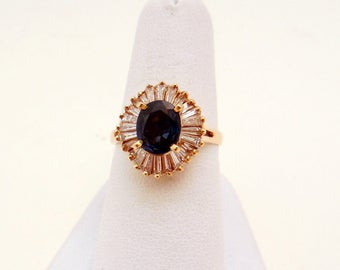 Vintage Sapphire and diamond  Ballerina Ring