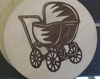 Wood Coaster - baby wheelbarrow - old fashion furniture - Vintage furniture - Plywood best quality - SOU021