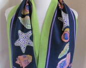 "Bob Mackie // Beautiful Colorful Blue Green Silk Scarf // 10 x 38"" Long"