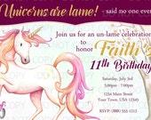 Printable DIY Unicorn Birthday Invitation