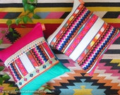 Mexican Pillow Set of 2 Zigzag  Cushion - Aztec Geometric Pink Turquoise