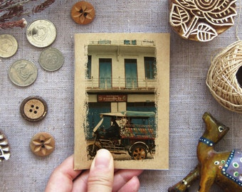 Rustic Notebook 28. Mini Journal Booklet - Tuktuk your way home, Laos - Small Travel Pocket Notebook - Street Taxi