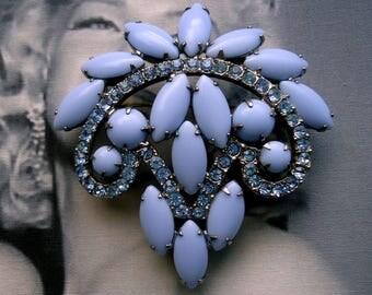 DeLizza and Elster a/k/a Juliana Cornflower Blue Cushion Navette Brooch Circa: 1950's