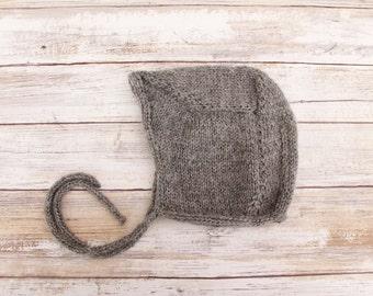 Retro Baby Bonnet. Hand Knit Alpaca Baby Bonnet. Gray Baby Bonnet. Knit Baby Hat.
