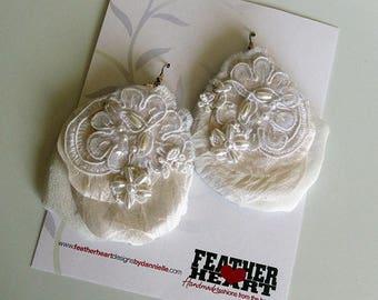 Silk Drop Earrings - White