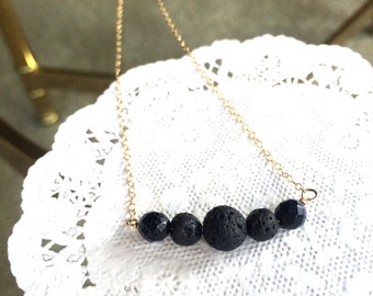 Lava Bead Bar Necklace, Goldstone Beads, Gold Filled Chain