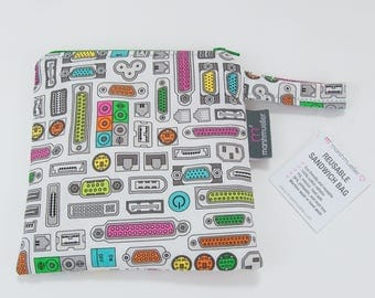 Plugs and Ports Reusable Sandwich Bag, Geeky Snack Bag, Food Safe Sandwich Baggie, Nerd Lunch Bag, Gifts for IT Nerds, Back to School Gift