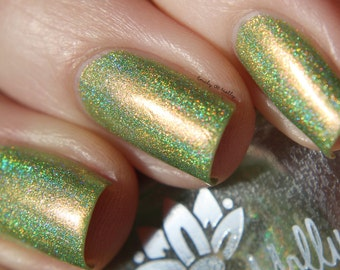 "Nail polish - ""Mortal Self"" Green holographic polish with red shimmer"