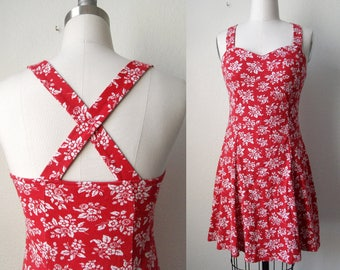 90s Grunge Red Floral Print Skater Dress with Sweetheart Neckline Boho Pinup size Small