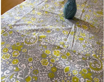 Tablecloth #45 Large Table Cloth, Floral Table Cloth,Gray and Yellow Table Cloth, Table Cloths, Table Linens, Linens, Dinner Table, Cloth