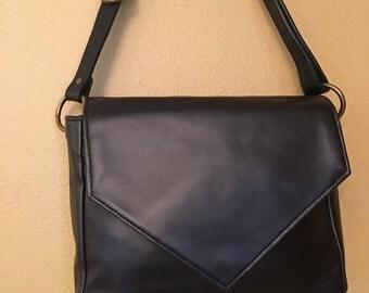 Becca #1503, Black Faux Leather Purse, Black Vinyl Purse, Black Purse, Medium Purse, Zippered Purse, Black Bag, Bags, Purses, Shoulder Purse