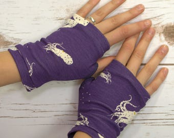 Womens Fingerless Gloves - Organic arm warmers-Jellyfish- Fingerless mitts- Texting Gloves-Driving Gloves-Hipster-Handmade