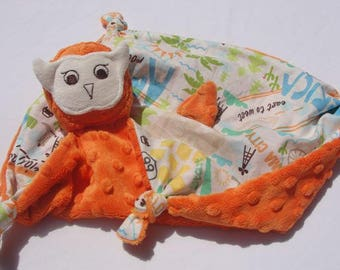 Orange Minky Owl Security Blanket, Lovey Blanket, Baby Blanket, Stuffed Animal, Baby Toy, Route 66