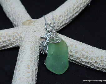 Sea Glass Necklace - Beach Glass Jewelry - Seahorse Necklace - Lime Green Sea Glass - FREE Shipping inside US