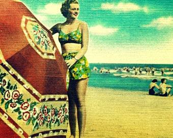 Beach Art Beach Umbrellas print striped Coastal art photograph 1930s beach art deco Vintage Beach Old Florida art Vintage Style art, beach