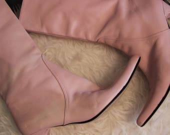 sz 6.5 Vintage Pointed Pink Boots