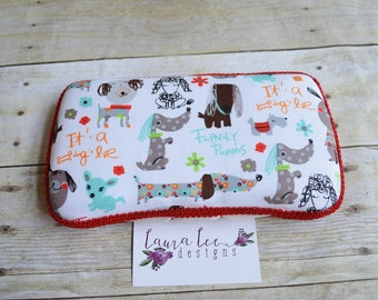 READY TO SHIP, Puppy Travel Baby Wipe Case, Puppies, Personalized, Diaper Wipes Case, Baby Shower Gift, Dog Diaper Wipe Clutch, Wipe Holder