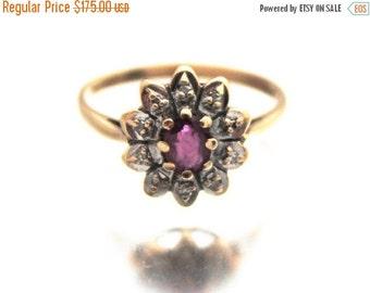 ON SALE Vintage Ladies Ruby Diamond Ring Engagement High Fashion 9ct 9k Yellow Gold | FREE Shipping | M.5 / 6.5