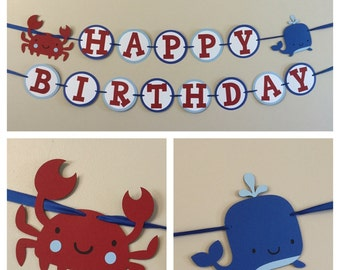 Blue and red Nautical Happy Birthday Banner Ready To Ship whale crab