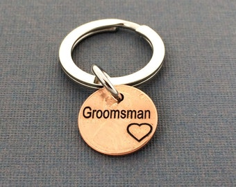 Groomsman Keychain -  Wedding Gift - Personalized Keychain - Groomsman - Hand Stamped -  Keychain - Husband Gift - Friend Gift - Bridesmaid