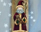 """Santa Claus, teddy bear, hand painted barnwood, 5"""" x 12"""""""