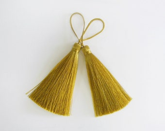 Gold Long Tassel Silk Trim Fringe Jewelry Making Necklace Gift Decorate Drapery Sewing Embellishments 2 pieces