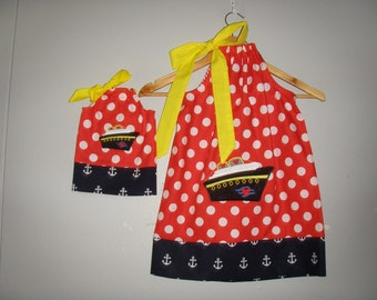 "Disney Cruise dress  dress matching AG doll dress size 12 months  2t, 3t,4t, 5t, 6,7 8, 10,12 to fit 18"" Doll"