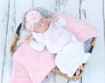 Newborn Girl Coming Home Outfit Newborn Baby Girl Clothes Newborn Baby Girl Headband Newborn Baby Girl Gift Baby Baby Girl Outfit