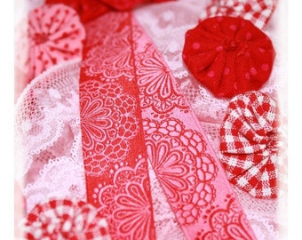 Jacquard Ribbon, Red Lace Ribbon,  Farbenmix woven reversible pink flower ribbon webband,  Sewing Tape, 1 metre