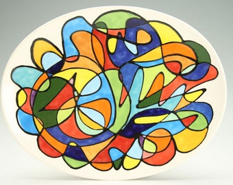 Small Plate Oval, Colorful Abstract Art, Retro Design, Dessert, Appetizer, Salad Dish, Multicolor Designs Hand Painted