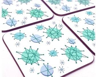 Atomic Starburst Coasters - Retro coasters - Mid Century coasters - Atomic Era Coasters - Turquoise coasters - Blue coasters - Retro Gift