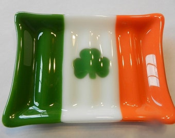 Irish Flag Soap Dish - Fused Glass