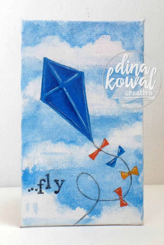 "SALE! Fly - blue kite - 3""x5"" canvas panel"