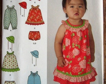 Infant Girls Dress, Romper in Two Lengths, Panties, Jacket and Hat Sizes XXs XS M L Simplicity Pattern 1700 UNCUT