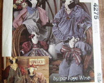 Vintage 1980s Country Cow Dolls and Clothes Faye Wine McCalls Crafts Pattern 4275 621 P304 UNCUT