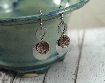 Daisy Floral Earrings on copper, flowers, spring season, hardware washer