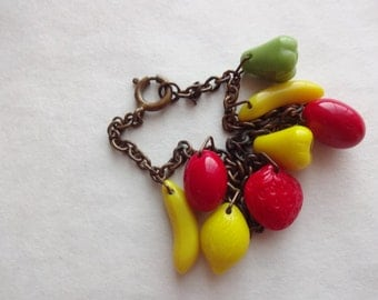 Glass Fruit Charm Bracelet 1940s
