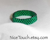 SPRING SALE!!! Get Free Shipping or Save 20%~ Emerald Green glass delica peyote woven beaded ring ~ Made to Order