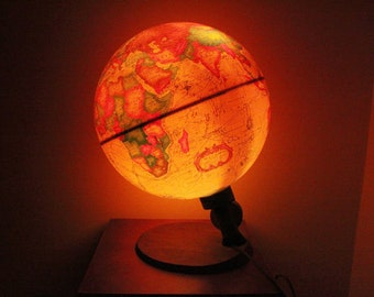 Vintage illuminate Globe Lamp, Vintage 1983s Spot Globe Lamp,Reader's Digest World Antique Spot Globe ,Made in  Denmark,Item No 1712