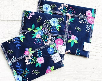 Reusable Ecofriendly Sandwich Bag and Snack Bags - navy posies - set of 3
