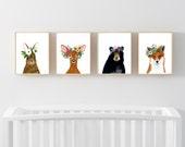 Animal print set, Set of 4 Prints, rabbit , bear, fox, deer, woodland nursery set, nursery print set, animal posters, wall art, woodland