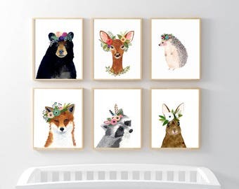 Woodland animals print set, Set of 6 Prints, raccoon, hedgehog, fox, deer, rabbit, bear, woodland nursery set, nursery print set