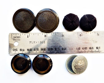 Large Coat Buttons/ 4 Pair  Vintage Button Lot/ One Pewter Toggle Shank Austrian Button / Fur Coat Buttons