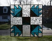 Stained Glass Suncatcher Bear's Paw Quilt Block Handmade