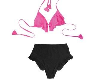 Ruffle High Waist Bikini Set READY TO SHIP