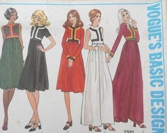 Vogue Basic Design Pattern 2581, Misses High Waisted Dress Pattern with Contrast Banding, Size 8