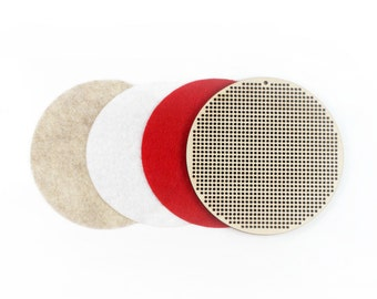"self adhesive felt rounds for backing - for 3.5"" wooden cross stitch or needlepoint blank disc - diy"